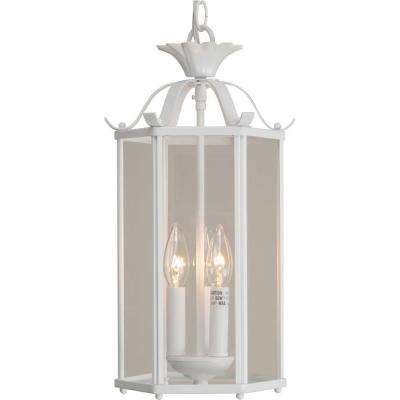 3-Light White Pendant with Bound Glass