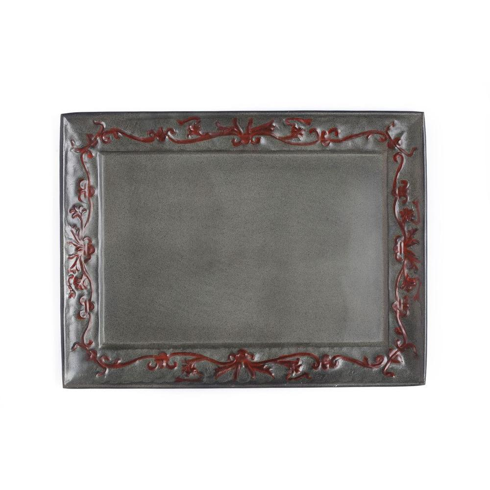 Old Dutch 18 in. x 13.5 in. Art Nouveau Rectangular Tray