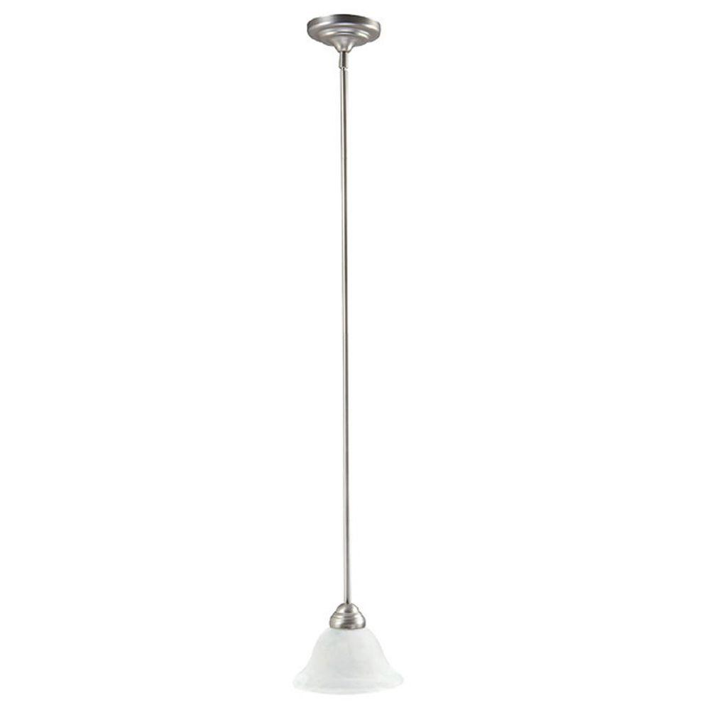 Filament Design 1-Light Matte Nickel Mini-Pendant with Faux White Alabaster Glass Shade