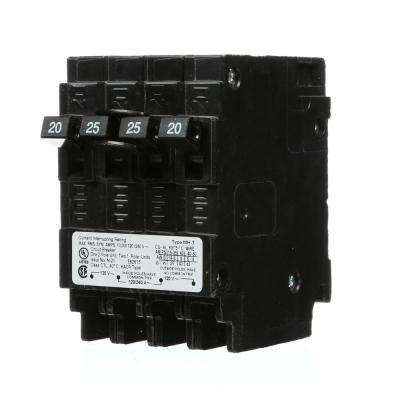 25 Amp Double-Pole and (2) 20 Amp Single-Pole Type MP-T Triplex Circuit Breaker
