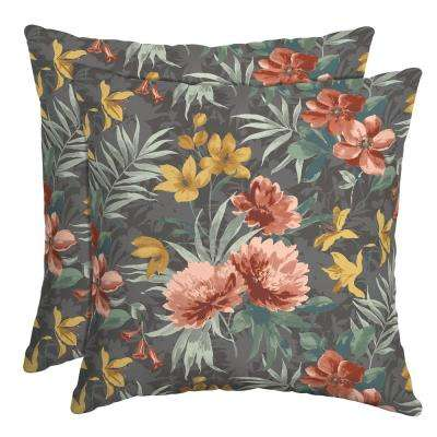 16 in. x 16 in. Phoebe Floral Outdoor Throw Pillow (2-Pack)