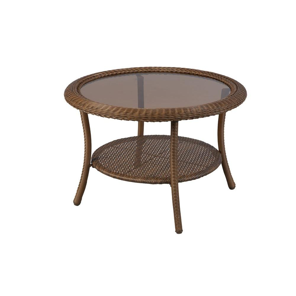 Hampton Bay Spring Haven 30 In. Brown All Weather Wicker Round Outdoor  Patio Coffee Table 66 20310   The Home Depot