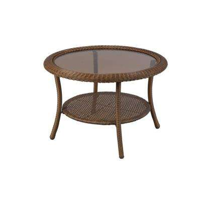Spring Haven 30 in. Brown All-Weather Wicker Round Outdoor Patio Coffee Table