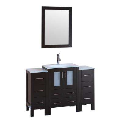 48 in. W Single Bath Vanity with Tempered Glass Vanity Top in White with White Basin and Mirror