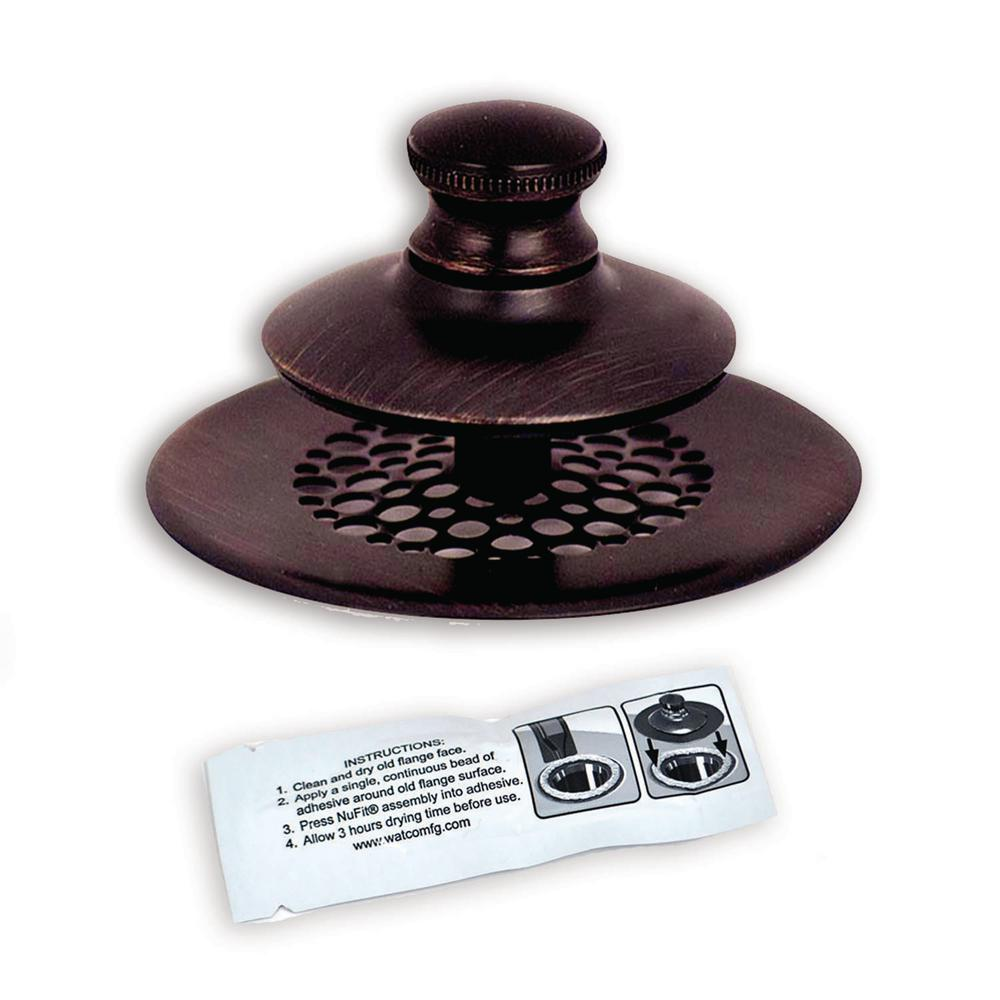 Watco 2.875 in. SimpliQuick Push Pull Bathtub Stopper, Grid Strainer and Silicone - Bronze