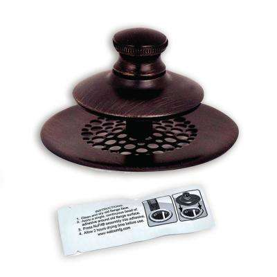 2.875 in. SimpliQuick Push Pull Bathtub Stopper, Grid Strainer and Silicone - Bronze