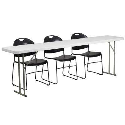 96 in. Black Plastic Tabletop Plastic Seat Folding Table and Chair Set