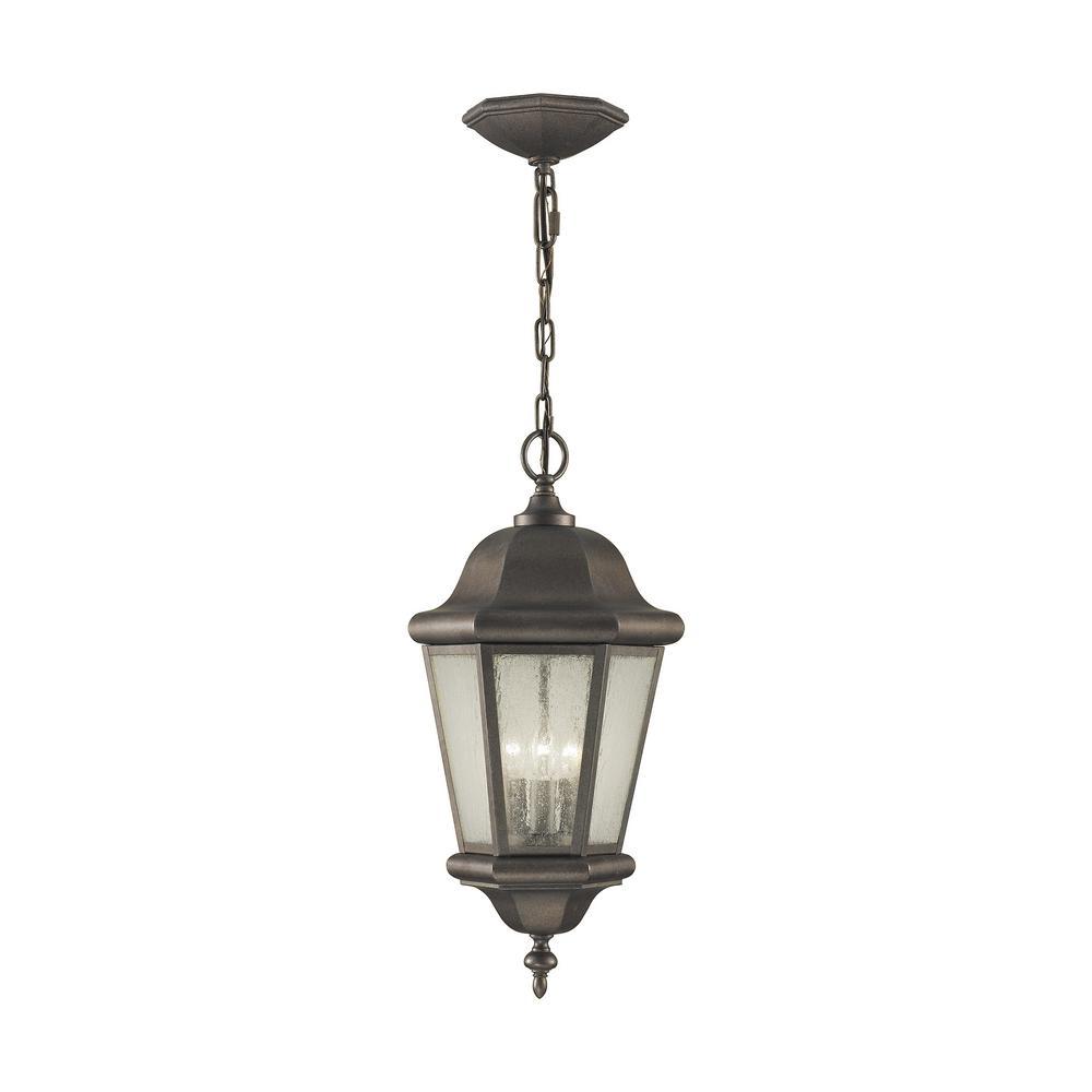 Sea Gull Lighting Martinsville 3 Light Corinthian Bronze Outdoor Pendant Light Ol5911en Cb The Home Depot