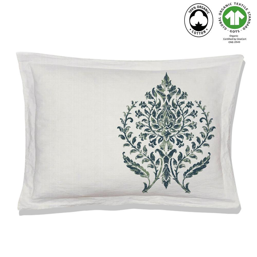 Trellis Reversible Print Green 100% Organic Cotton Queen Sham (Set of 2)