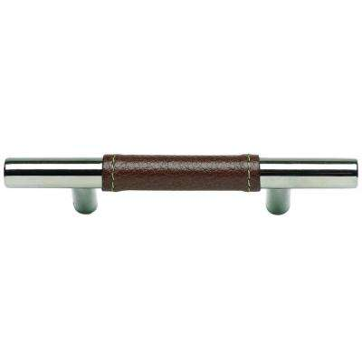 3 in. Polished Chrome Zanzibar Leather Cabinet Center-to-Center Pull