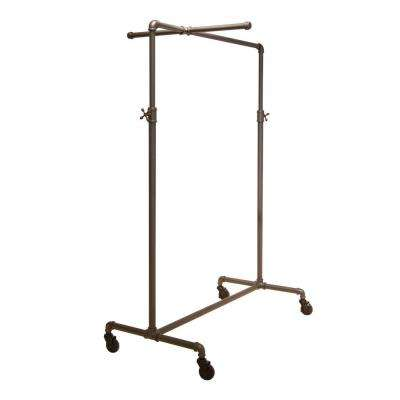 Pipeline 41 in. W x 72 in. H Adjustable Anthracite Gray Garment Rack with Crossbar