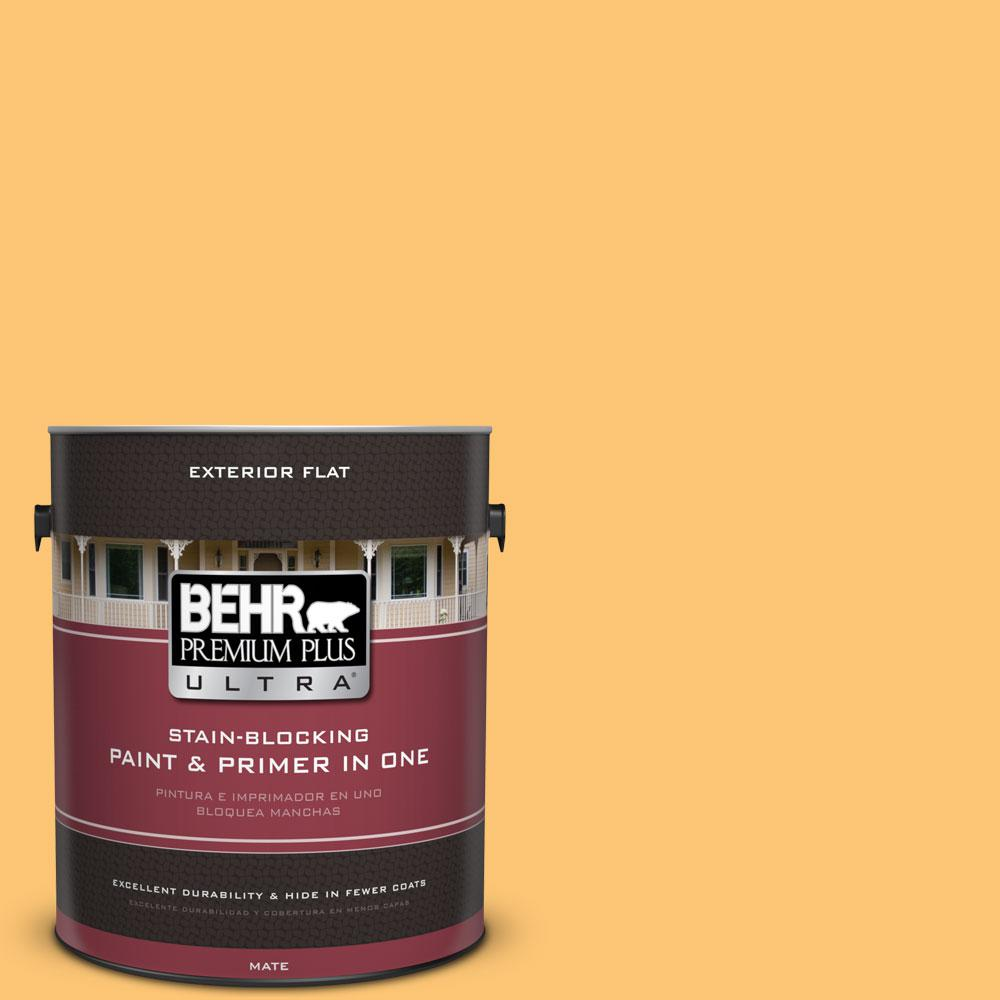 BEHR Premium Plus Ultra 1-gal. #BIC-42 Liquid Gold Flat Exterior Paint