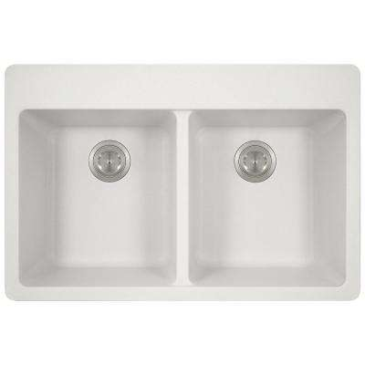 Drop-in Granite Composite 33 in. 4-Hole Equal Double Bowl Kitchen Sink in White