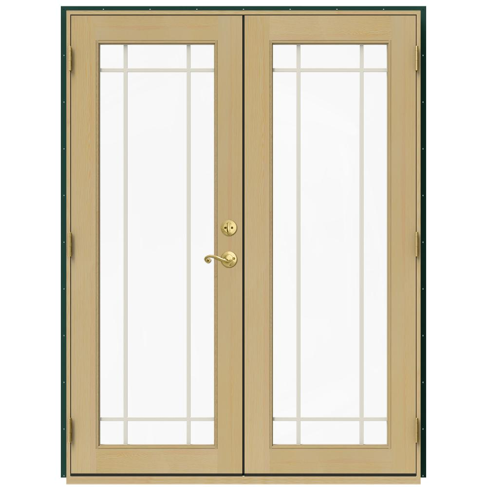 Jeld Wen 60 In X 80 In W 2500 Green Clad Wood Right Hand 9 Lite French Patio Door W Unfinished