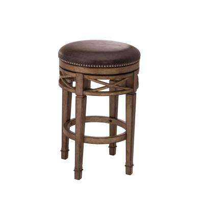 Chesterfield 26 in. Gold Metallic Silver Swivel Cushioned Counter Stool