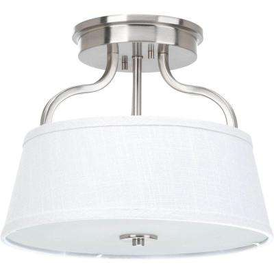 Arden Collection 2-Light Brushed Nickel Semi-Flushmount