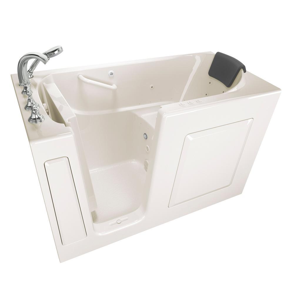 Gelcoat Premium Series 60 in. Left Hand Walk-In Whirlpool and Air Bathtub in Linen