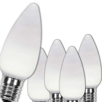 C9 LED Cool White Smooth/Opaque Christmas Light Bulbs (25-Pack)