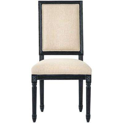 Jacques Antique Black Natural Linen Dining Chair (Set of 2)