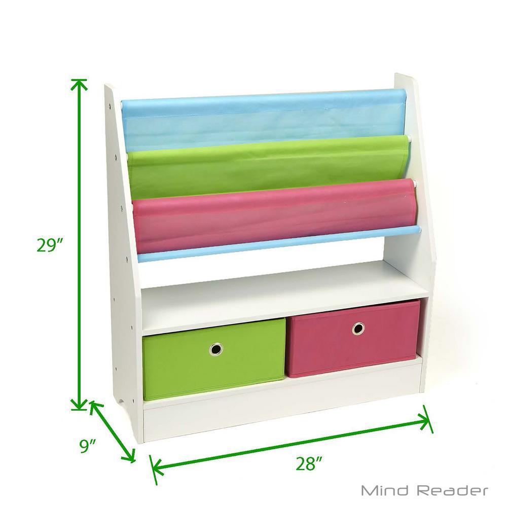 Mind Reader Wood Collapsible Drawer Storage Book Shelf