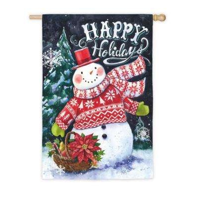 28 in. x 44 in. Norwegian Christmas Snowman and Santa House Suede Flag