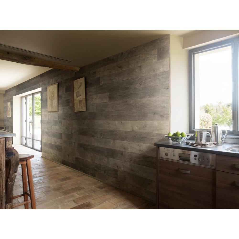 GROSFILLEX Grosfillex Element Wood 1/4 in. x 6 in. x 48 in. Ash Grey Resin Decorative Wall Panel (18-Pack)