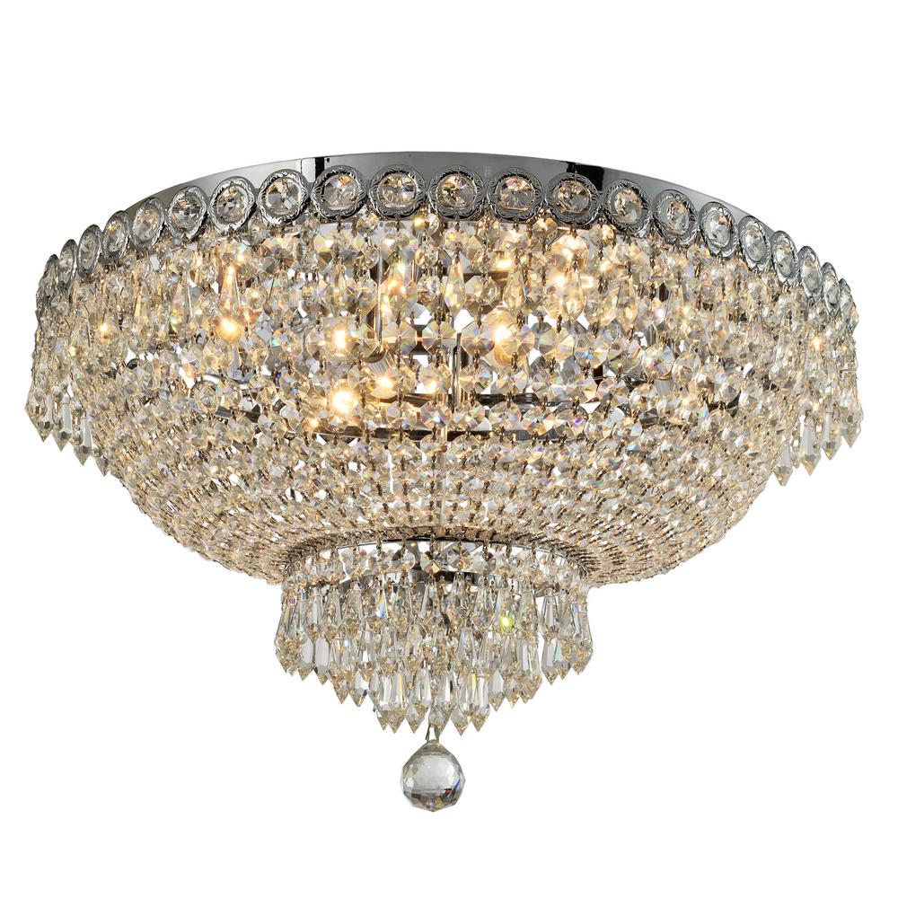 Worldwide Lighting Empire 20 in. 6-Light Polished Chrome Crystal Flush Mount