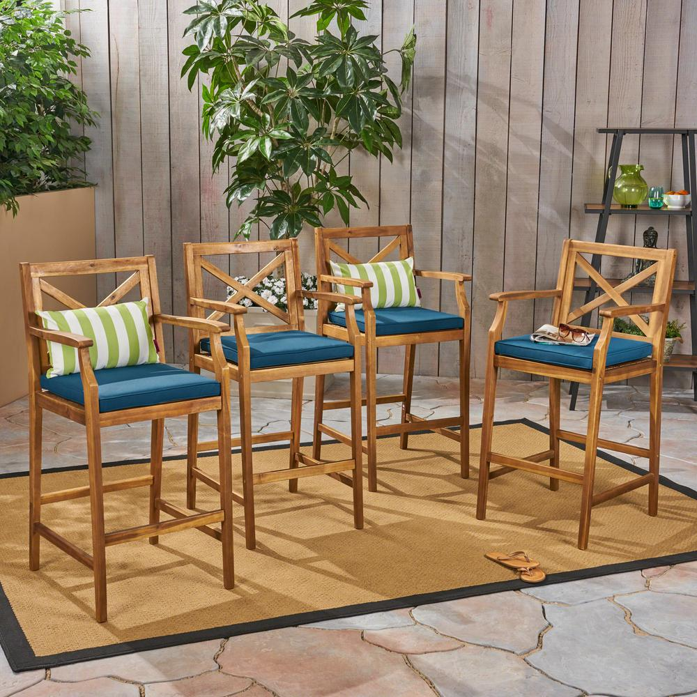 Perla Teak Brown Wood Outdoor Bar Stool with Blue Cushion (4-Pack)