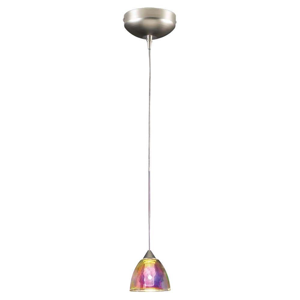 PLC Lighting 1-Light LED Mini Drop Pendant Satin Nickel Finish Dichroic Glass