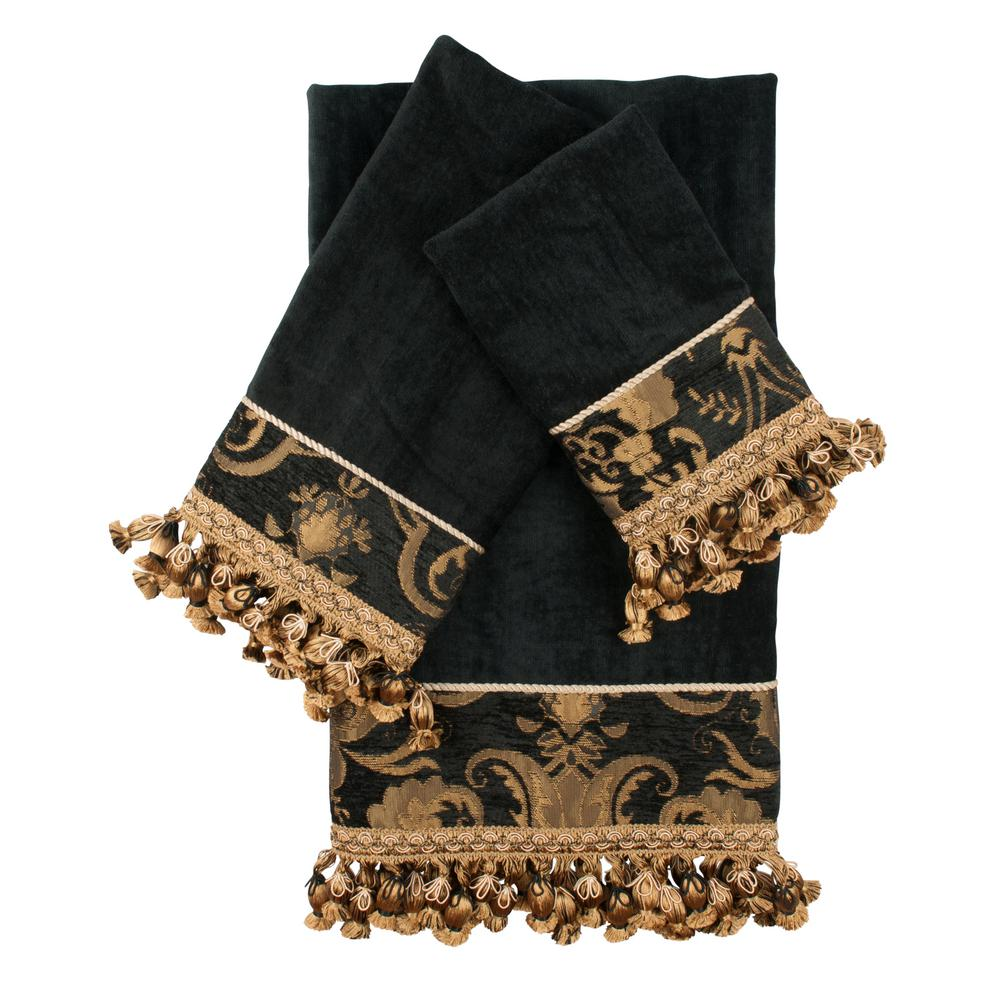 China Art Black Decorative Towel Set (3-Piece)