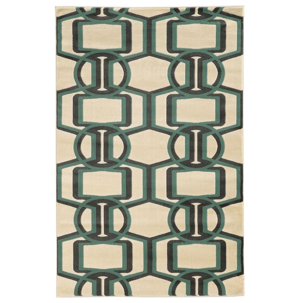 Linon Home Decor Roma Collection Bridle Grey And Turquoise 5 Ft 3 In X 7 Ft Indoor Area Rug