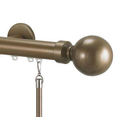 Tekno 25 Decorative 132 in. Traverse Rod in Champagne with Ball 28 Finial