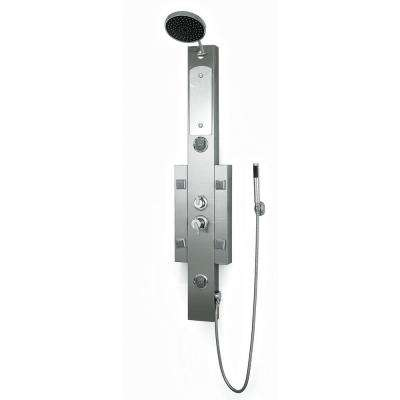 55 in. 6-Jetted Full Body Shower Panel System with Heavy Rain Showerhead and Spray Wand in Stainless steel