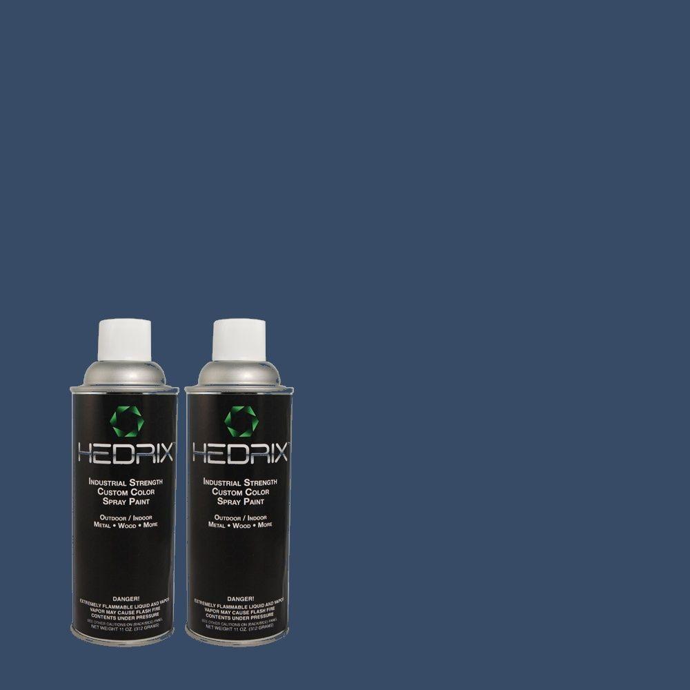 Hedrix 11 oz. Match of S-H-580 Navy Blue Flat Custom Spray Paint (2-Pack)