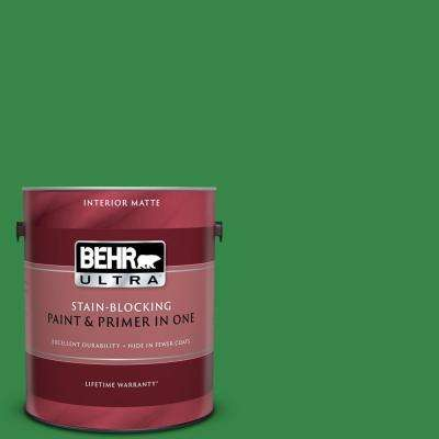 1 gal. #450B-7 Green Grass Matte Interior Paint and Primer in One