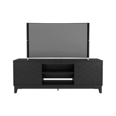 Hexagon 71 in. Black Engineered Wood TV Stand Fits TVs Up to 80 in. with Storage Doors