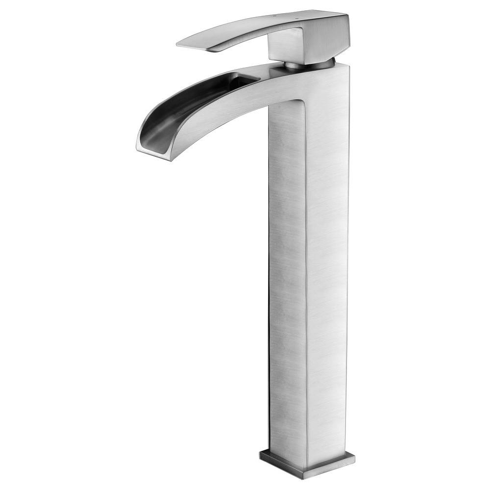 Key Series Single Hole Handle Vessel Bathroom Faucet In Brushed Nickel
