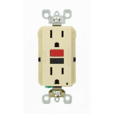 15 Amp Self-Test SmartlockPro Slim Duplex GFCI Outlet, Ivory