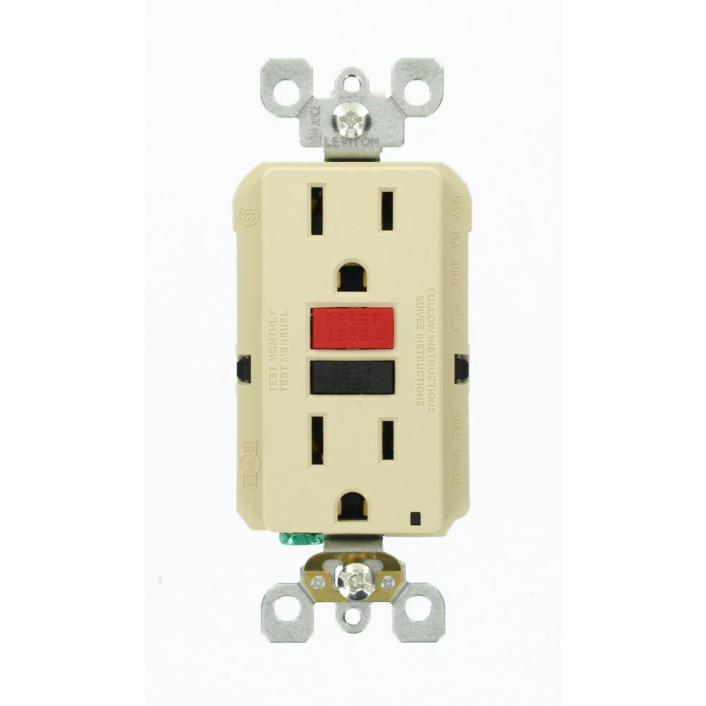 15 Amp 125-Volt Duplex Self-Test Slim GFCI Outlet, Ivory