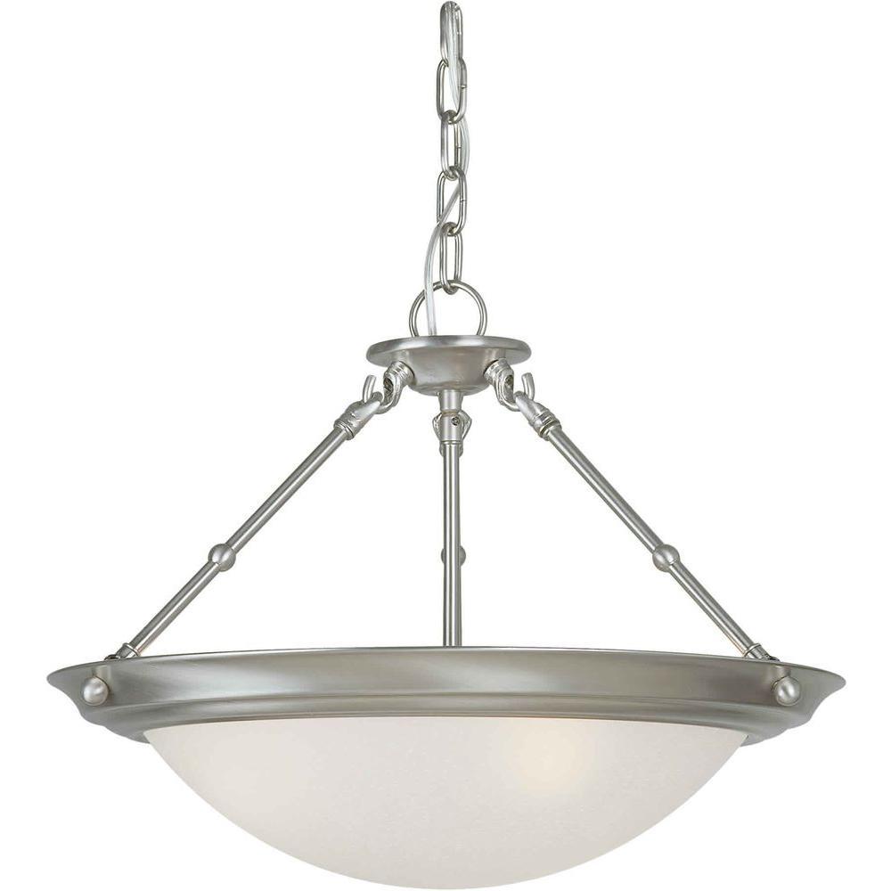 3-Light Brushed Nickel Semi-Flush Mount Light with White Linen Glass
