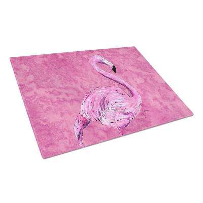 Flamingo on Pink Tempered Glass Large Cutting Board