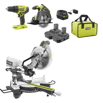 15 Amp 10 in. Sliding Compound Miter Saw and 18-Volt Cordless ONE+ Drill/Driver, Circular Saw Kit