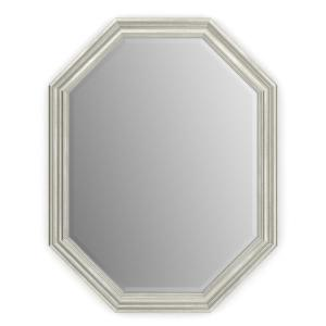 26 in. W x 34 in. H (M2) Framed Octagon Deluxe Glass Bathroom Vanity Mirror in Vintage Nickel