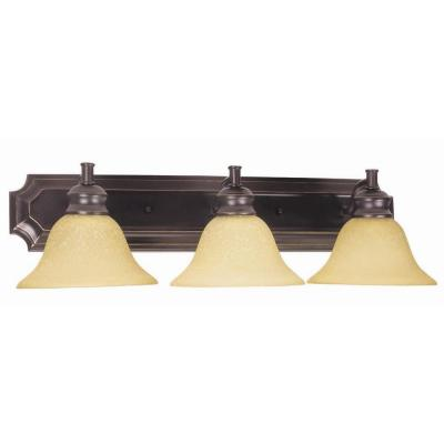 Bristol 3-Light Oil-Rubbed Bronze Wall Bath Vanity Light Tea Speckled Glass Shades