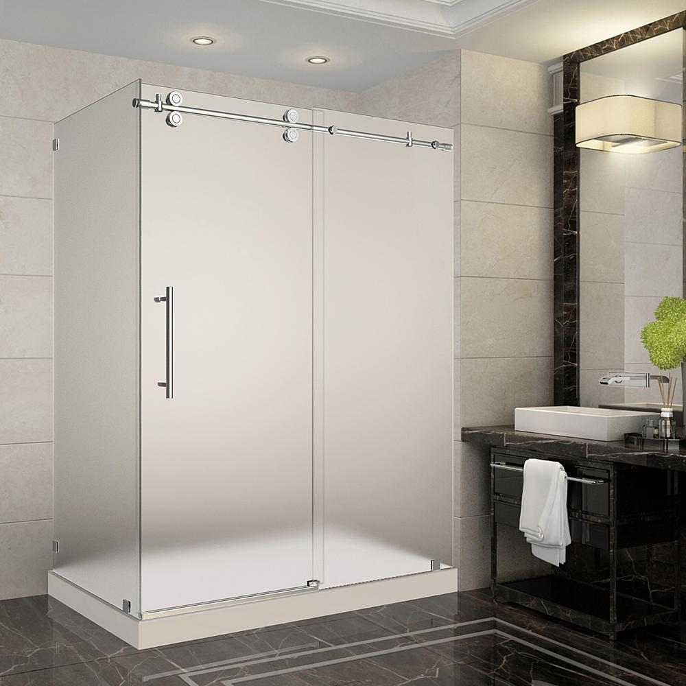 Aston Langham 60 in. x 35 in. x 77.5 in. Frameless Sliding Shower Enclosure and Frosted in Chrome with Right Base