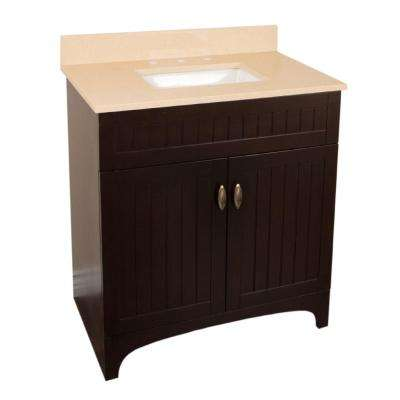 Reedley 32 in. W x 22 in. D Vanity in Sable Walnut with Quartz Vanity Top in Beige with White Basin