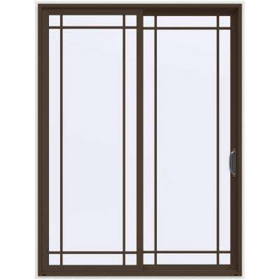 72 in. x 96 in. V-4500 Contemporary Brown Painted Vinyl Right-Hand 9 Lite Sliding Patio Door w/White Interior