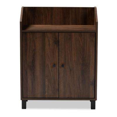 Rossin 32 in. H x 24 in. W 8-Pair Walnut Wood Shoe Storage Cabinet with Open Shelf