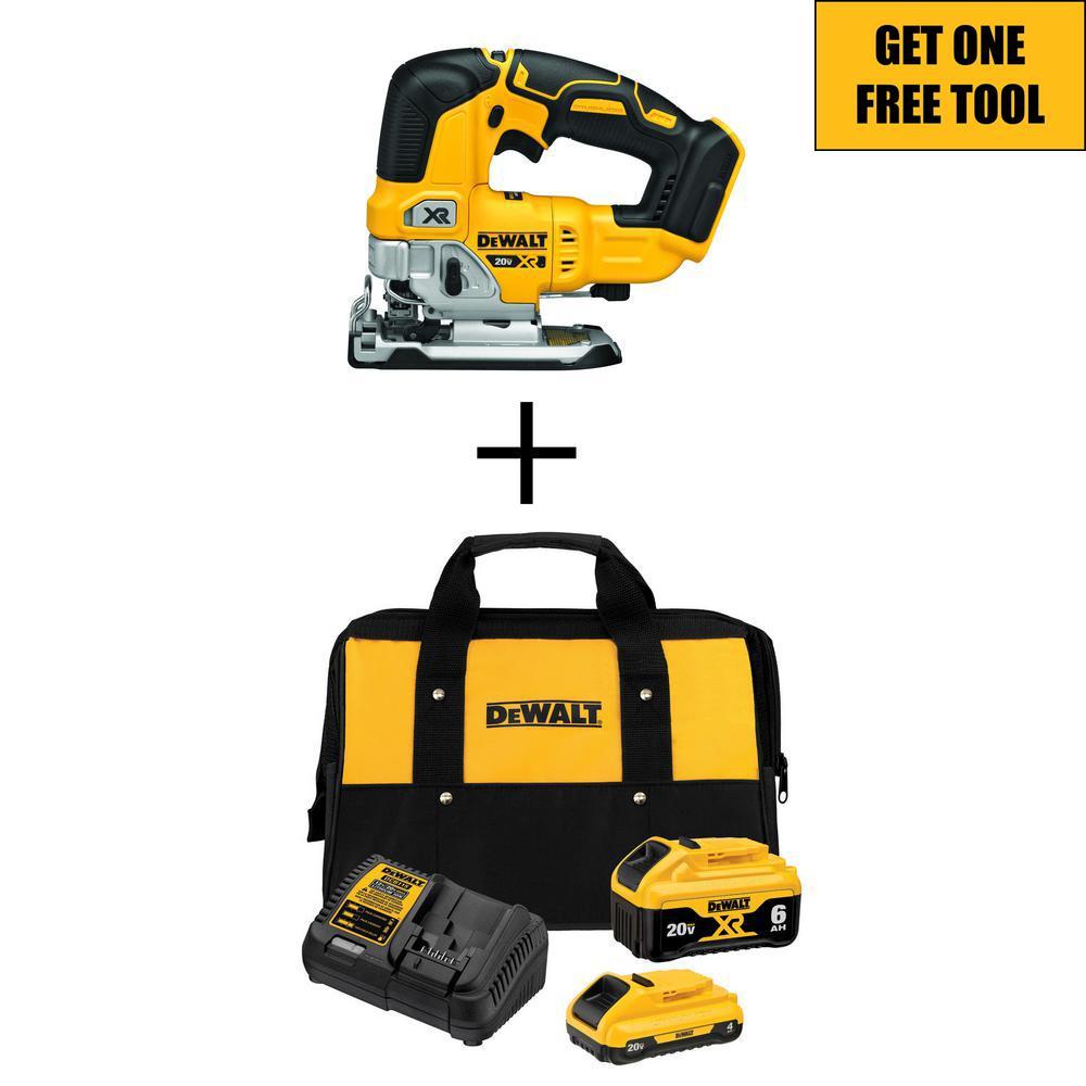 20-Volt MAX XR Starter Kit (1) 6.0Ah Battery & (1) 4.0Ah Battery with FREE 20-Volt Cordless Brushless Jigsaw