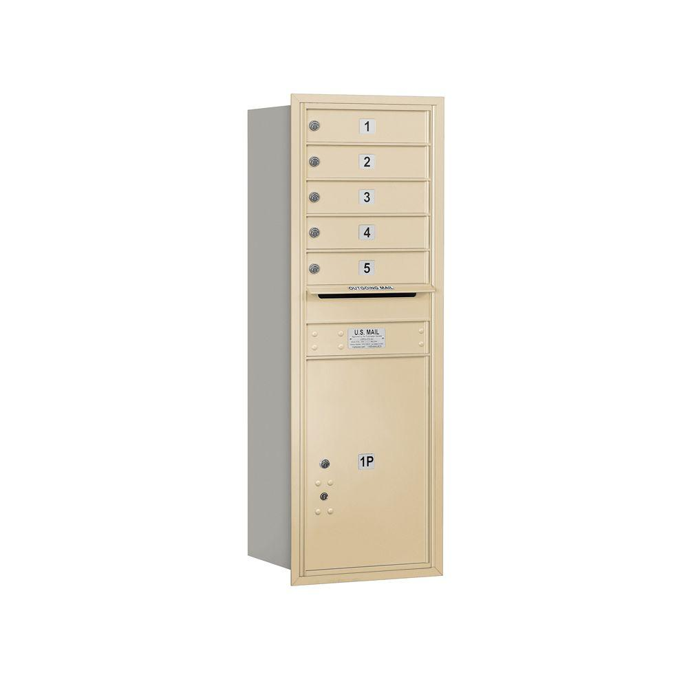 Salsbury Industries 3700 Series 48 in. 13 Door High Unit Sandstone Private Rear Loading 4C Horizontal Mailbox with 5 MB1 Doors/1 PL6